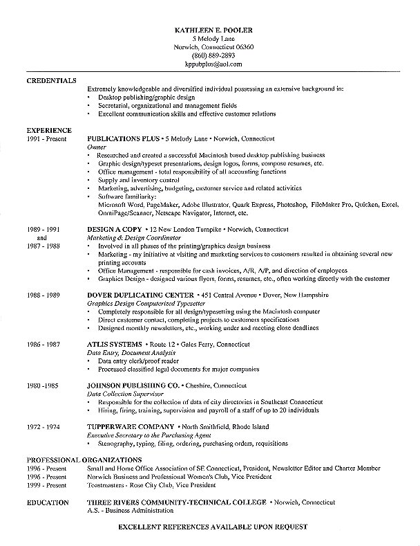 Résumé Sample from Publications Plus